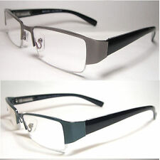 Man Woman Reader Spring Hinge Temple Clear Reading Glasses Metal Frame - RE016