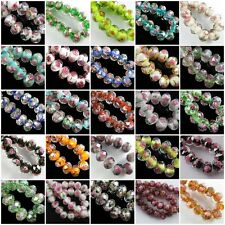 20pcs Faceted Glass Rose Flower Inside Lampwork Rondelle Beads Spacer Findings