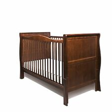 NEW WALNUT COLOUR PINE WOOD SLEIGH COT BED & NEW QUALITY COTBED SAFETY MATTRESS