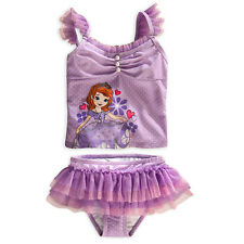 NEW DISNEY STORE SOFIA THE FIRST PRINCESS DELUXE SWIMSUIT GIRLS 2PC FREE SHIP