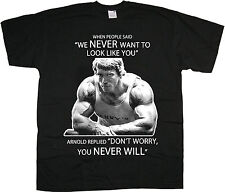 Arnie Glare T-Shirt Mens Top Arnold Workout Tee Training Bodybuilding Muscle Gym