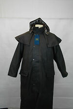 MENS WOMENS LONG WAX CAPE HOODED QUILTED WATERPROOF JACKET COAT RIDING