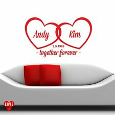 """""""Together Forever"""" entwined love hearts personalised wall art wall sticker"""