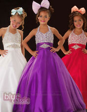 Flower Girls Dress Beaded Pageant Prom Party Princess Ball Gown Formal Dresses