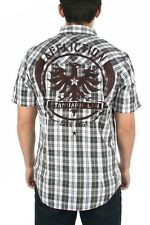 Affliction Men's Secret Code Button Down Short Sleeve Shirt Black