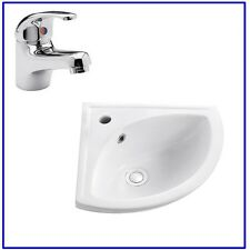 Griffith Bathroom Cloakroom 1 Tap Hole Compact Small Corner Wash Basin Sink
