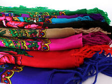 Beautiful shawl scarf 11 col flower patterns fringes POLISH folk cotton vintage