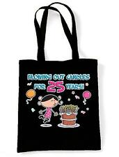 BLOWING OUT CANDLES FOR 25 YEARS SHOPPING  TOTE BAG 25th Birthday Present Gift