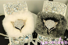 For Samsung Galxy S4 S5 Note3/4 Bling Diamond Fox Rabbit Fur Flip Leather Case