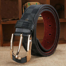 Fashion Men Buckle Check Designer Waistband Handmade Leather Waist Belt Costume