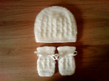 Handmade Crocheted Baby Unisex Cable Hat & Mitts 100% Acrylic  various colours