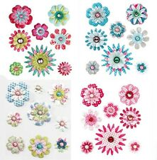 Tilda Paper Flower & Gem Brads 4 to Choose From Your Choice Free P & P