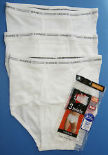 Hanes Men's Briefs 3 Pairs Pack Underwear Large White L 36/38 Cotton New w Tags