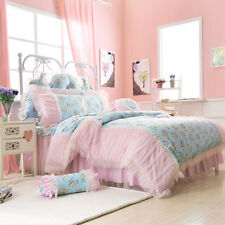 New Pink Polka Dot Girls Lace Frilly  Bedding Sets
