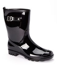 BRAND NEW STYLE Ladies Black Shiny Rain Boots with Buckle - SKADOO- Sizes 5-11