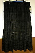 Womans Plus 3X 4X Lace Lined Black Maxi Skirt New With Tags
