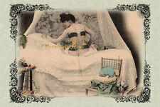 RISQUE CORSET LADY Vintage Postcard Image Photo, Blank Card Or Print RP001
