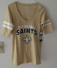 NFL New Orleans Saints 47 Brand Vee T Shirt Jersey Style Stripe Sleeves Womens