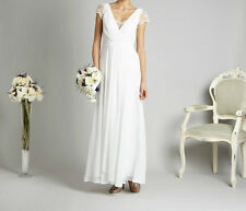 NEW DEBUT DEBENHAMS CHIFFON LACE FLORAL VINTAGE IVORY WEDDING PARTY DRESS RRP160
