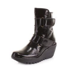 Fly London Yaki Leather Black Wedge Boots Size 3-8