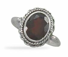 Sterling Silver Faceted Garnet Ring with Rope Edge