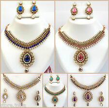 Ethnic Indian Kundan Pearls Gold Necklace Earrings Set / Wedding Fashion Jewelry