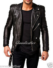 New Stylish Men's Motorcycle Lambskin Genuine Leather Biker Jacket MJ # 0199