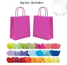 10 Hot Pink Paper Gift Bags -With Tissue Paper Recyclable Twist Handle Party Bag