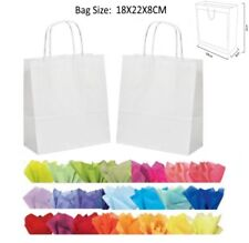 10 White Paper Gift Bags With Tissue Paper - Recyclable Twist Handle Party Bag