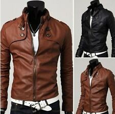 Men Clothes European Style Stand Collar Motorcycle Coat Synthetic Leather Jacket