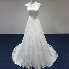 Custom Made Real Photo New White Lace Wedding Dress 2015 Bridal Gown with Sash
