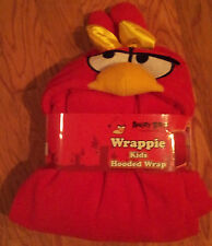 """Red-Blanket-Wrappie-For-Kids-40""""x52""""-Male-Or-Female-Angry-Birds-Polyester-NWT"""
