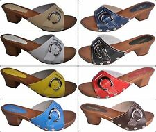 'MaRited' Ladies Clogs Sandals  Natural Leather and Wooden Sole and heel