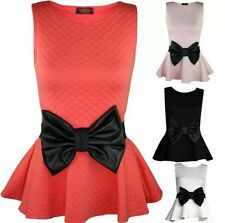 NEW WOMENS LADIES DIAMOND QUILTED BIG BOW PARTY SKATER PEPLUM TOP PLUS SIZE 8-22