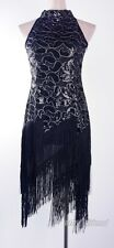 1920's Flapper Dress Clubwear Gatsby Sequin Tassel Black Plus Size Dress AF 3225
