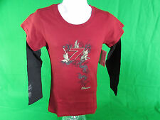 NASCAR #7 danica patrick Black & Red Layered Ladies T-Shirt  By Chase Authentics