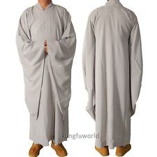 Top Quality Gray Buddhist Meditation Robe Wide Sleeves Fine Linen Fabric