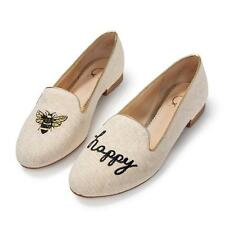 $148 C Wonder Bee Happy Smoking Slippers Shoes Flats Tory Burch Natural Gold NIB