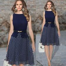 Women Ladies Chiffon Polka Dot Crew Neck Sleeveless Belted Party Dress Dark Blue