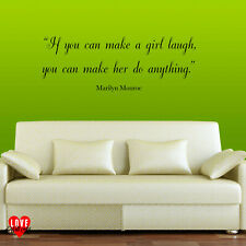 Marilyn Monroe quote wall art sticker If you can make a girl laugh bedroom decal