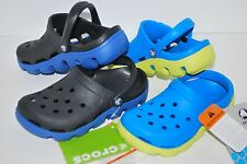 NWT CROCS DUET SPORT KIDS CLOGS shoes BLACK OCEAN BLUE 4/5 6/7 8/9 10/11 12/13 1