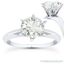 Round Brilliant Cut Moissanite 14k White Gold 6-Prong Solitaire Engagement Ring