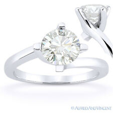 Round Brilliant Cut Moissanite 14k White Gold Bypass Solitaire Engagement Ring