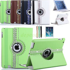 BLING 360° Rotating Diamond Crystals Leather Case For iPad Air 2 iPad 6 2014 NEW
