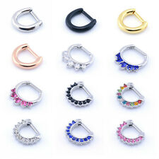 Septum Clicker Nose Rings CZ Gem or Plain Nose Piercing 316L Steel