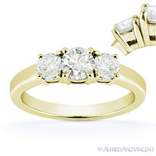 Round Cut Moissanite 14k Yellow Gold Three-Stone Basket Engagement Promise Ring