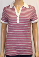 Tommy Hilfiger Classic Polo Shirt Womens Pink Striped 100% Cotton Tee New NWT