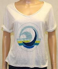 Roxy Keeping It Graphic V-Neck Tee Womens Off White Relaxed Fit T-Shirt New NWT
