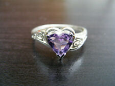 S51 Sterling Silver Heart Ring Heart Shaped Natural Amethyst Gemstone