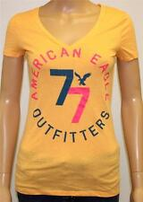 American Eagle Outfitters 77 Graphic V-Neck Tee Womens Orange T-Shirt New NWT
